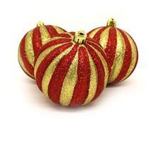 Bolas de Natal com 6 Peças Santini 047-952521 Vermelho e Dourado