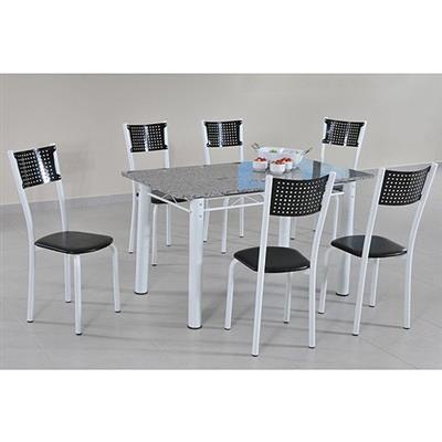 Mesa Copa 7 Peças 1 Mesa 6 Cadeiras Modecor 550/242/347 Tampo Granito Branco e Preto