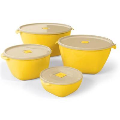Conjunto de Potes para Mantimentos 4 Peças Uz UZ219 Plástico Amarelo