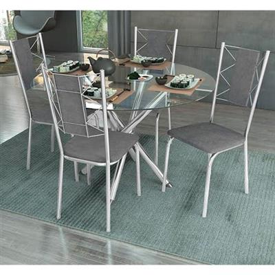 Mesa Copa 4 Cadeiras Kappesberg M8CR/T1281IN/4C76 Tampo de Vidro Ferro Cromado