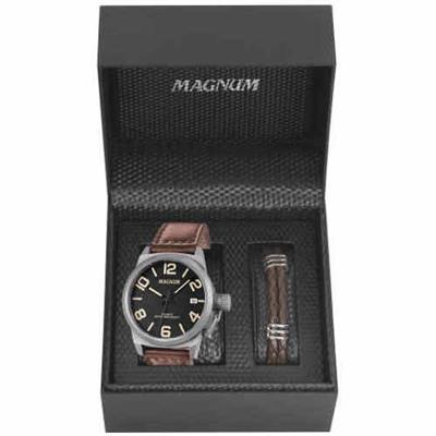 60517467c26 Relógio Masculino Magnum MA33433X Analógico Pulseira de Couro Marrom com Kit