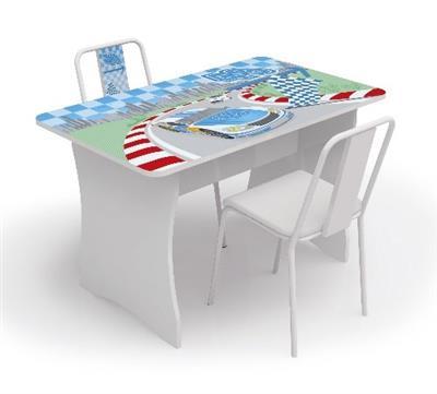 Mesa Infantil com 2 Cadeiras Kappesberg D320 MDP Branca com Ilustração