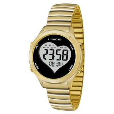 Relógio Feminino Lince SDPH065L BPKX Digital Pulseira de Aço Dourado