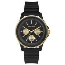 2bbbf1b6b77 Relógio Feminino Mormaii MO6P29AG8P Analógico Pulseira de Silicone Preto