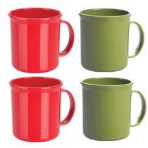 Conjunto Caneca Escolar Térmica 4 Peças Martiplast KT110 Vermelho e Verde
