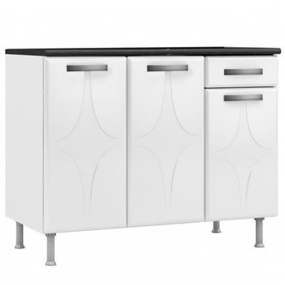 Balcão de Cozinha 3 Portas e 1 Gaveta Telasul Rubi com Tampo 811134 Branco