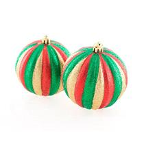 Bolas de Natal com 6 Peças Santini 047-952530 Vermelho Verde e Dourado