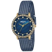 Relógio Feminino Seculus 13021LPSVLS4 Analógico Pulseira de Aço Azul