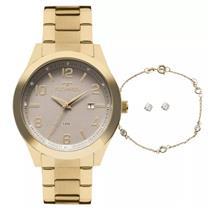 Relógio Feminino Technos 2115KZVK4C Analógico Pulseira de Aço Dourado d8946496e6