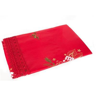 Toalha de Mesa Santini Christmas048-256774 Tamanho 110x110cm Poliéster Vermelho