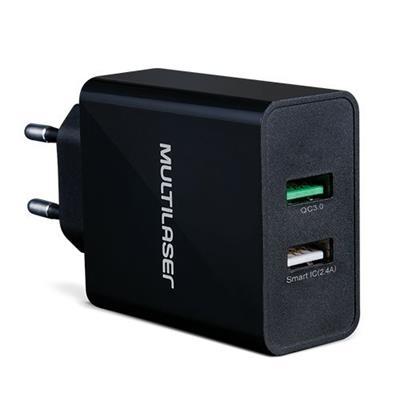 Carregador Quick Charger Multilaser CB117 2 Portas USB Preto