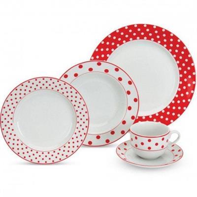Conjunto para Jantar 20 Peças Ricaelle Poá APJA-009 Porcelana Vermelho e Branco