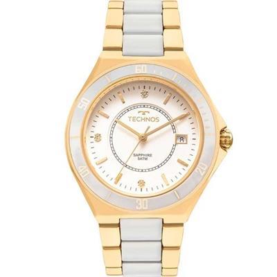 Relógio Feminino Technos 2115MMN 4B Analógico Pulseira de Aço Dourado e  Branco 7906ee5c09