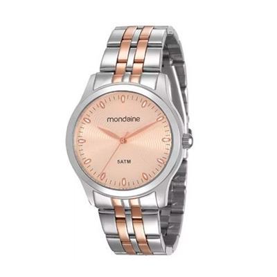 Relógio Feminino Mondaine 78745LPMVGA2 Analógico Pulseira de Aço Prata e Cobre