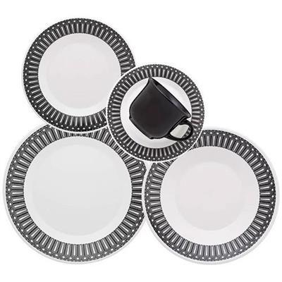 Jogo de Jantar 30 Peças Oxford Nativa M164-1877 Porcelana Branco e Preto