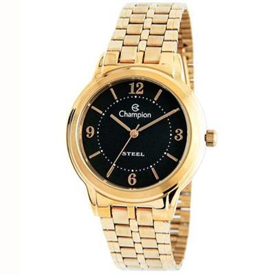 5c7cfd6edd4 Relógio Feminino Champion CA21704U Analógico Pulseira de Aço Dourado ...