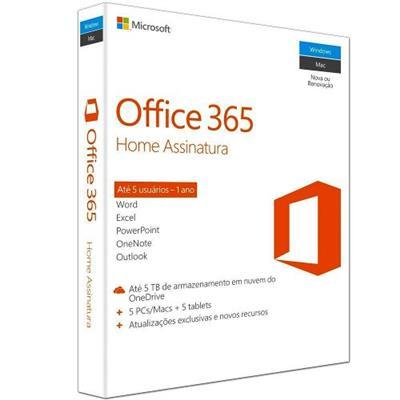 Licença para Microsoft Office 365 Home 1 Ano para 5 Computadores