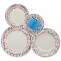Conjunto para Jantar 30 Peças Oxford Melissa AE30-5119 Porcelana Branco, Azul e Vermelho