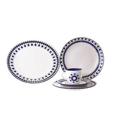Conjunto para Jantar 30 Peças Oxford Chess ET30-4671 Porcelana Branco e Azul