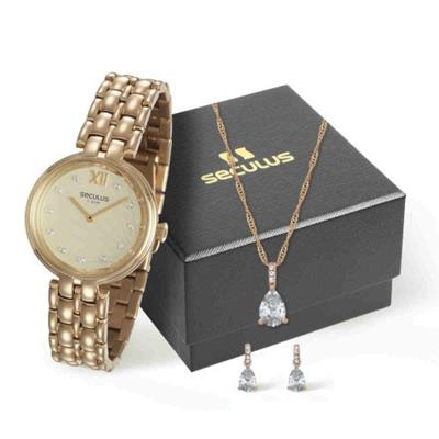 Relógio Feminino Seculus 13022LPSVDS1K1 Analógico Pulseira de Aço