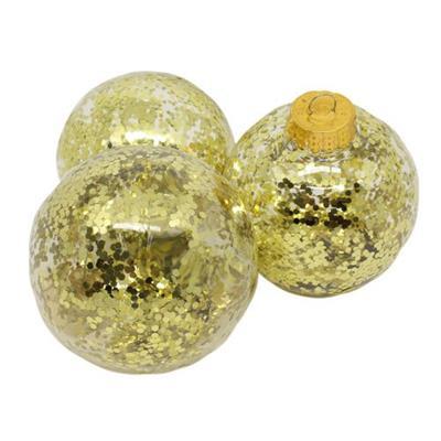 Bolas de Natal com 4 Peças Santini 045-952044 Transparente com Glitter Dourado