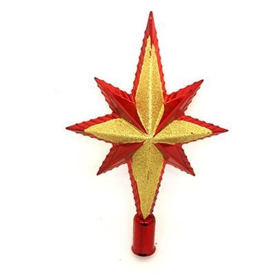 Adorno Natalino Estrela para Árvore Santini Christmas 048-956392 Vermelho e Dourado