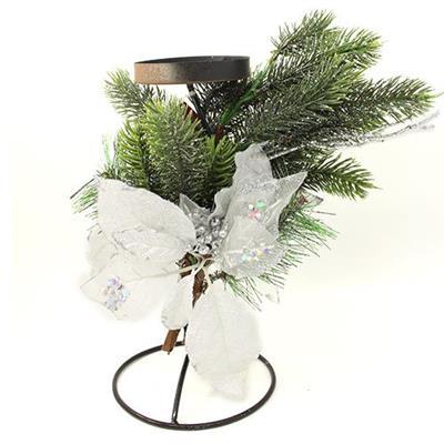 Candelabro com Arranjo Floral Natalino Santini Christmas 048-575711 Flor Branca