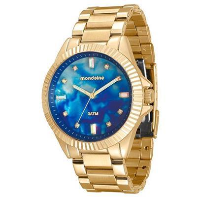 b7cffb34bd294 Relógio Feminino Mondaine 76642LPMVDE2 Analógico Pulseira de Aço Dourado