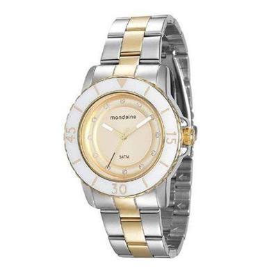 Relógio Feminino Mondaine 76646LPMVBE3 Analógico Pulseira de Aço Prata e Dourado