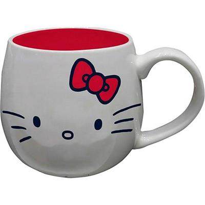 CANECA URBAN HELLO KITTY CLASSICAL FACE FD BRANCO 12,5X7,5X9,5CM 300ML