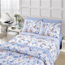 Conjunto roupa de cama 4 peças Casal Santista Royal Laila Azul 100% Algodão