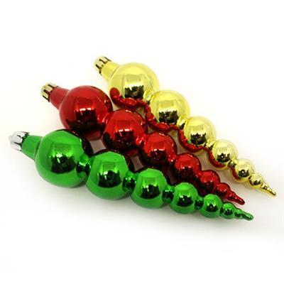 Conjunto de Adornos para Árvore de Natal 6 Peças Santini 0048-956424 Vermelho Verde e Dourado