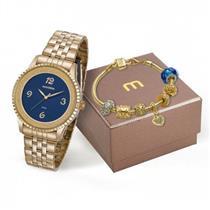 7886307aede Relógio Feminino Mondaine 99279LPMKDE1K1 Analógico com Kit de Joias  Pulseira de Aço Dourado