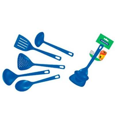 Conjunto de Talheres 5 Peças Tramontina 2 Conchas 1 Escumadeira 1 Espátula 1 Colher para Salada 25099/104 Azul