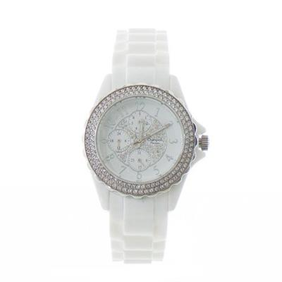 Relógio Feminino Champion CP30093W Analógico com Kit de Joias Pulseira de Aço Branco