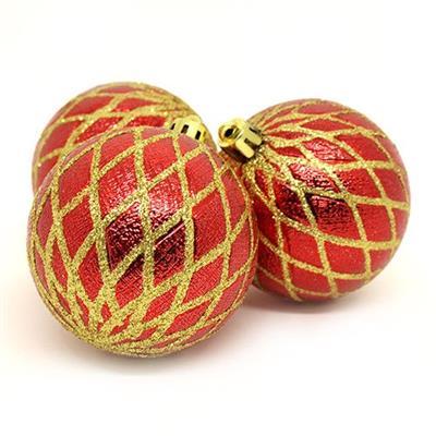 Bolas de Natal com 6 Peças Santini 048-956262 Vermelho
