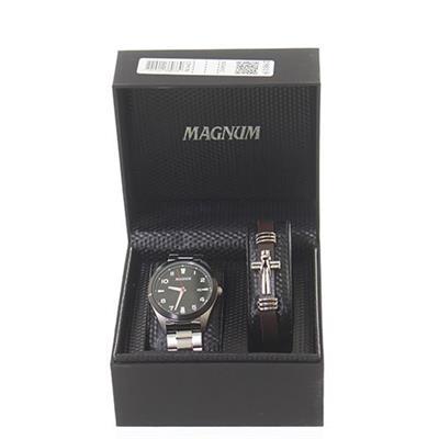 Relógio Masculino Magnum MA34601C Analógico Pulseira de Aço com Kit