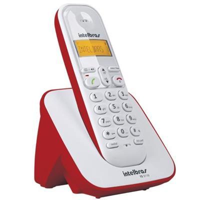 TELEFONE INTELBRÁS SEM FIO TS 3110 VERMELHO / BRANCO