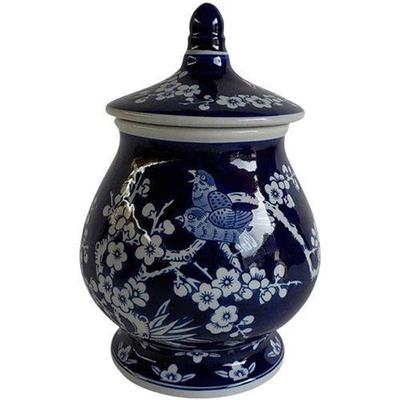 POTE URBAN COM TAMPA ROUND CHINESE CHERRY FLOWERS AZUL/BRANCO 16,5 X 16 ,5 X 24 CM