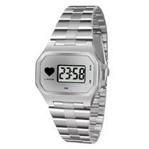 Relógio Feminino Lince SDM4480L BSSX Digital Pulseira de Aço Prateado