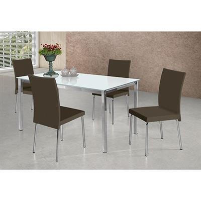 Conjunto Sala de Jantar 5 Peças Aço Nobre Etna 5CJ0912CR3 Tampo de Vidro Metal Cromado Assento Marrom