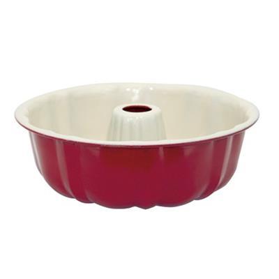 Forma para Pudim Mimo 5521 Aço Revestimento Cerâmico Vermelho e Bege