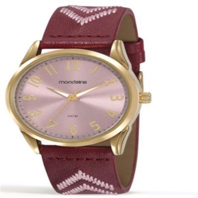 Relógio Feminino Mondaine 99348LPMVDH2 Analógico Pulseira de Couro Roxo