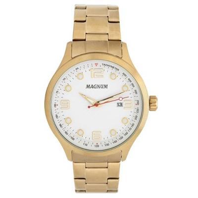 4c4aa19d094 Relógio Masculino Magnum MA33013H Analógico Pulseira de Aço Dourado ...