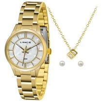 Relógio Feminino Lince LRGH072L KU34B1KX Analógico com Kit de Joias Pulseira de Aço Dourado