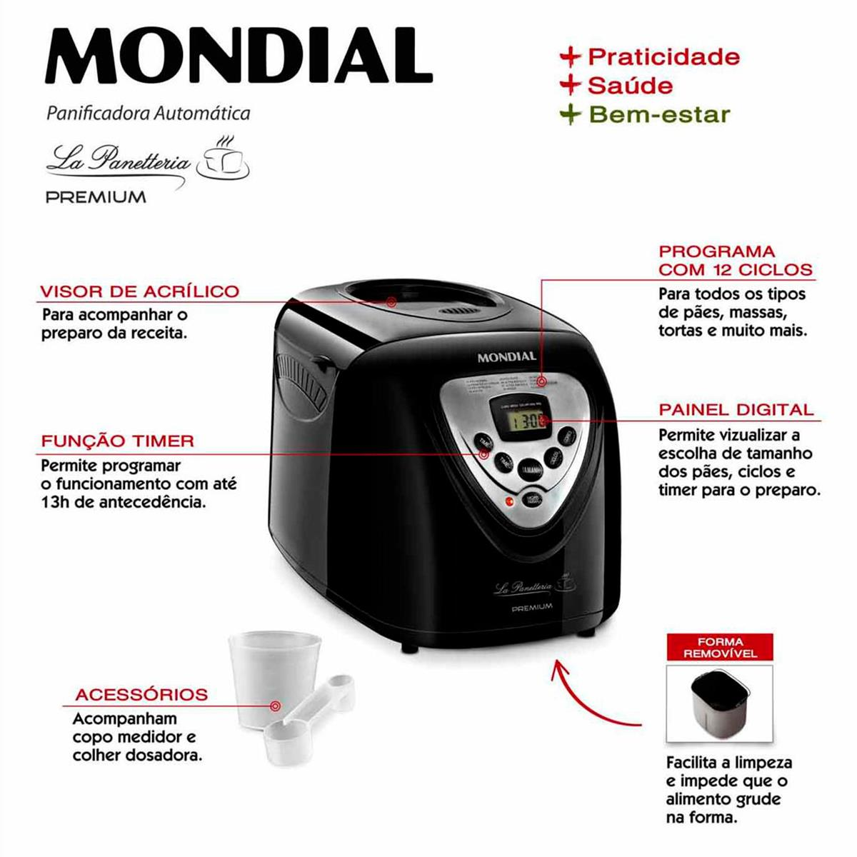 a07ea0fd2 Máquina de Fazer Pão Mondial Premium PF51 600 W Timer 12 Programas -  Máquina de Fazer Pão Mondial Premium PF51 600 W Timer 12 Programas - MONDIAL