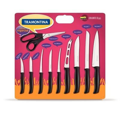 Conjunto de Facas 10 Peças Tramontina Athus 23099/078 Lâminas em Aço inox com Cabos de Polipropileno