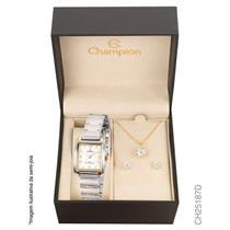 Relógio Feminino Champion com Kit de Joias CH25187D Analógico Pulseira de Aço