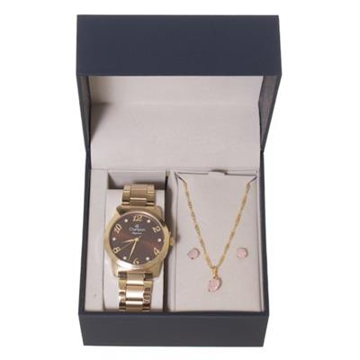 Relógio Feminino Champion CN26108X Analógico Pulseira de Aço Dourado com Kit