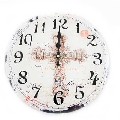Relógio de Parede Redondo Latcor LA3-1584 Cruz com Maquinismo de Pequeno Volume Branco com Ilustração